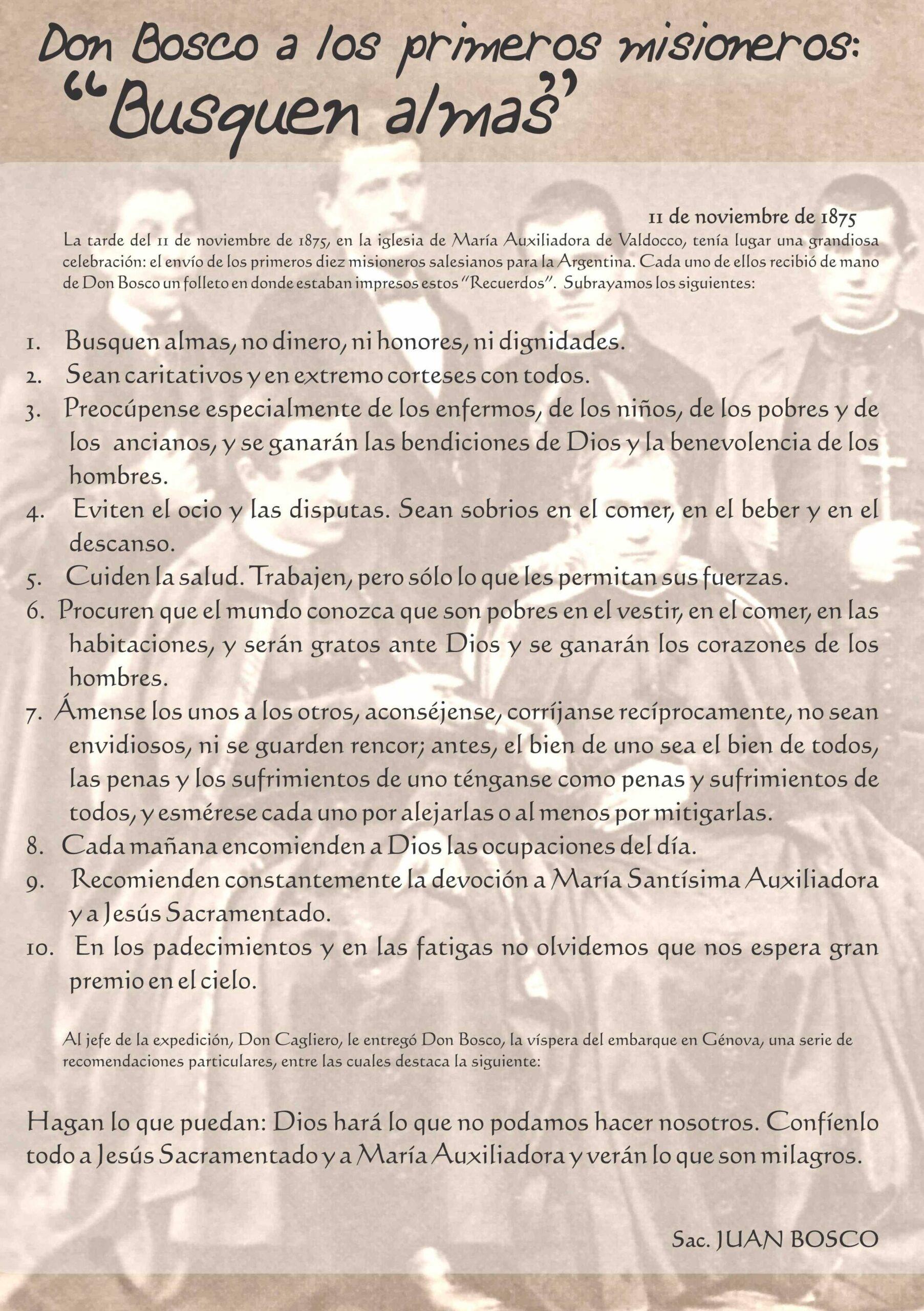 Recuerdo de Don Bosco a los primeros misioneros